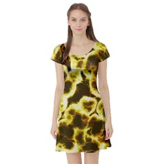 Abstract Pattern Short Sleeve Skater Dress