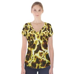 Abstract Pattern Short Sleeve Front Detail Top