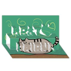Fat Cat Best Friends 3D Greeting Card (8x4)