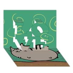 Fat Cat Love 3d Greeting Card (7x5)