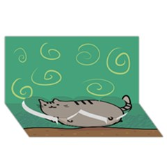 Fat Cat Twin Heart Bottom 3d Greeting Card (8x4)