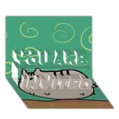 Fat Cat You Are Invited 3d Greeting Card (7x5)