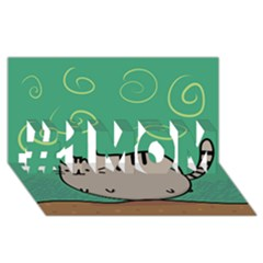 Fat Cat #1 Mom 3d Greeting Cards (8x4)