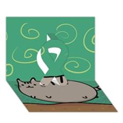 Fat Cat Ribbon 3d Greeting Card (7x5)