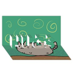 Fat Cat Hugs 3d Greeting Card (8x4)