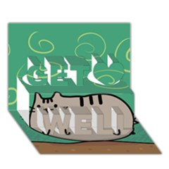 Fat Cat Get Well 3d Greeting Card (7x5)
