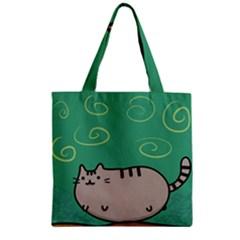 Fat Cat Zipper Grocery Tote Bag