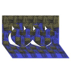 Basket Weave Twin Hearts 3D Greeting Card (8x4)