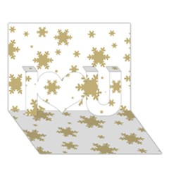 Gold Snow Flakes Snow Flake Pattern I Love You 3d Greeting Card (7x5)