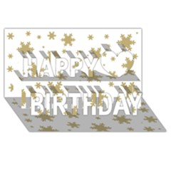 Gold Snow Flakes Snow Flake Pattern Happy Birthday 3D Greeting Card (8x4)