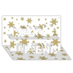 Gold Snow Flakes Snow Flake Pattern Best Friends 3d Greeting Card (8x4)