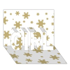 Gold Snow Flakes Snow Flake Pattern Girl 3d Greeting Card (7x5)