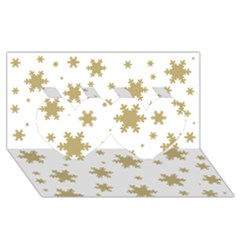 Gold Snow Flakes Snow Flake Pattern Twin Hearts 3D Greeting Card (8x4)