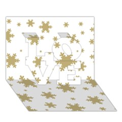 Gold Snow Flakes Snow Flake Pattern Love 3d Greeting Card (7x5)