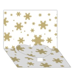 Gold Snow Flakes Snow Flake Pattern Heart Bottom 3d Greeting Card (7x5)
