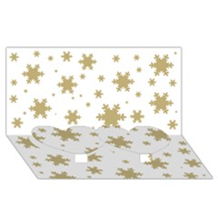 Gold Snow Flakes Snow Flake Pattern Twin Heart Bottom 3D Greeting Card (8x4)
