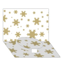 Gold Snow Flakes Snow Flake Pattern Circle Bottom 3D Greeting Card (7x5)