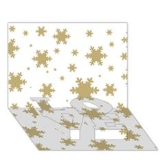 Gold Snow Flakes Snow Flake Pattern LOVE Bottom 3D Greeting Card (7x5)