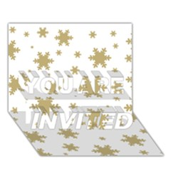 Gold Snow Flakes Snow Flake Pattern You Are Invited 3d Greeting Card (7x5)