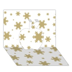 Gold Snow Flakes Snow Flake Pattern Apple 3D Greeting Card (7x5)