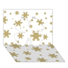 Gold Snow Flakes Snow Flake Pattern Clover 3d Greeting Card (7x5)