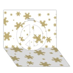 Gold Snow Flakes Snow Flake Pattern Peace Sign 3d Greeting Card (7x5)