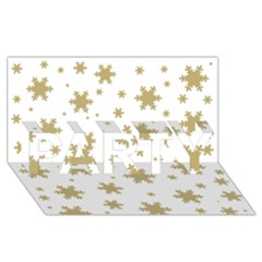 Gold Snow Flakes Snow Flake Pattern Party 3d Greeting Card (8x4)