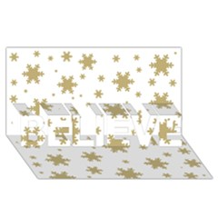 Gold Snow Flakes Snow Flake Pattern Believe 3d Greeting Card (8x4)