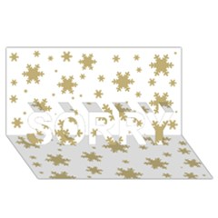 Gold Snow Flakes Snow Flake Pattern Sorry 3d Greeting Card (8x4)