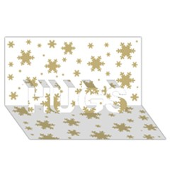 Gold Snow Flakes Snow Flake Pattern Hugs 3d Greeting Card (8x4)