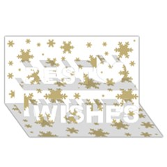 Gold Snow Flakes Snow Flake Pattern Best Wish 3d Greeting Card (8x4)