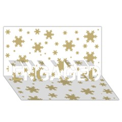 Gold Snow Flakes Snow Flake Pattern ENGAGED 3D Greeting Card (8x4)