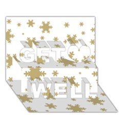 Gold Snow Flakes Snow Flake Pattern Get Well 3D Greeting Card (7x5)