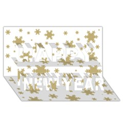 Gold Snow Flakes Snow Flake Pattern Happy New Year 3d Greeting Card (8x4)