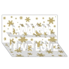 Gold Snow Flakes Snow Flake Pattern Laugh Live Love 3D Greeting Card (8x4)