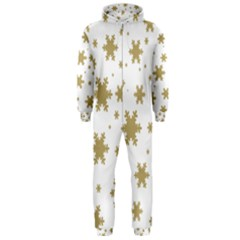 Gold Snow Flakes Snow Flake Pattern Hooded Jumpsuit (men)