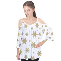 Gold Snow Flakes Snow Flake Pattern Flutter Tees