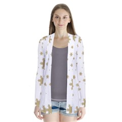 Gold Snow Flakes Snow Flake Pattern Cardigans