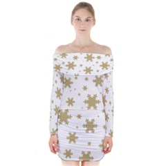 Gold Snow Flakes Snow Flake Pattern Long Sleeve Off Shoulder Dress