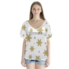 Gold Snow Flakes Snow Flake Pattern Flutter Sleeve Top