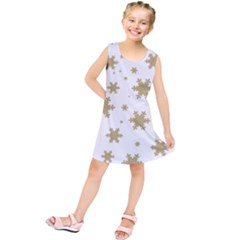 Gold Snow Flakes Snow Flake Pattern Kids  Tunic Dress