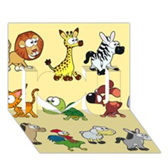 Group Of Animals Graphic I Love You 3d Greeting Card (7x5)
