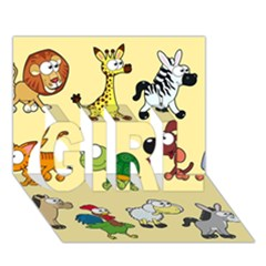 Group Of Animals Graphic Girl 3d Greeting Card (7x5)