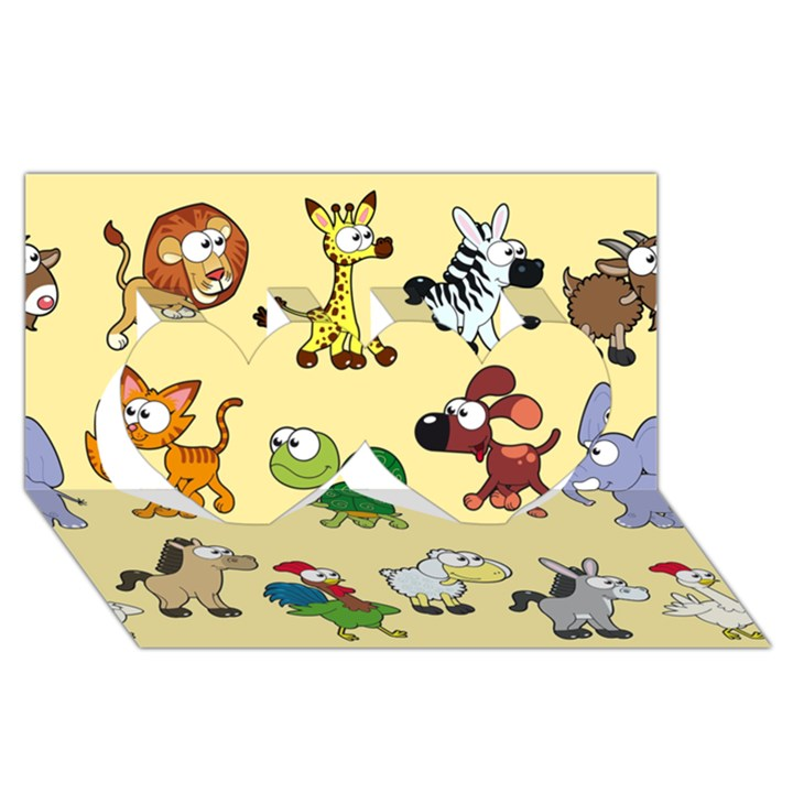 Group Of Animals Graphic Twin Hearts 3D Greeting Card (8x4)