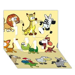 Group Of Animals Graphic Love 3d Greeting Card (7x5)
