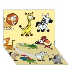 Group Of Animals Graphic Heart Bottom 3D Greeting Card (7x5)