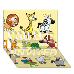 Group Of Animals Graphic You Are Invited 3d Greeting Card (7x5)