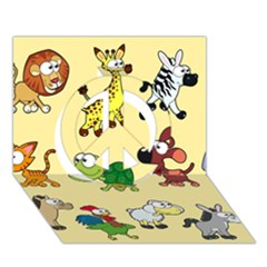 Group Of Animals Graphic Peace Sign 3d Greeting Card (7x5)
