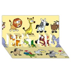 Group Of Animals Graphic Best Sis 3d Greeting Card (8x4)