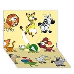 Group Of Animals Graphic Ribbon 3d Greeting Card (7x5)